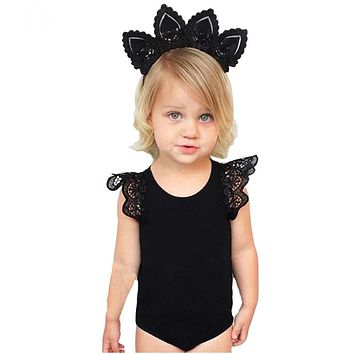 Baby rompers for girls clothes sleeveless white and black Lace baby girl clothes newborn baby girl clothes