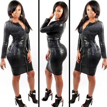 Fashion Women Faux Leather Bodycon Dress Ladies' PU Snake Dress Long Sleeve Sexy Party Women's V Neck Party Clubwear Dress