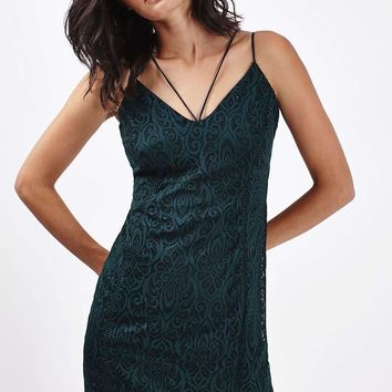 Strappy Plunge Lace Bodycon Dress - Topshop