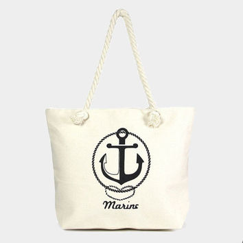 Beige Anchor beach tote bag with cotton rope handles, marine beach tote, heart marine anchor tote bag