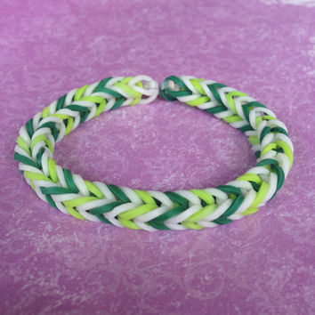 Dark Green, Light Green, and White Rubber Band Bracelet - Rainbow Loom