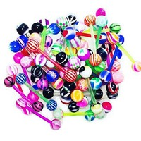 BodyJ4You Tongue Rings Assorted Flexible Lot of 100 Piercing Barbells 14 Gauge