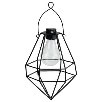 "8.75"" Black Geometric Diamond Solar Powered LED Outdoor Patio Metal Lantern"