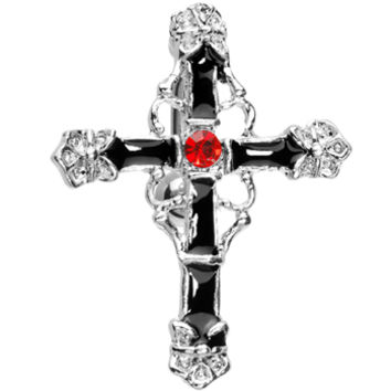 Top Drop Ruby Red Gem Embellished Cross Belly Ring | Body Candy Body Jewelry