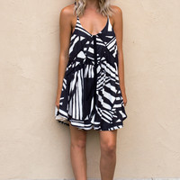 Ulima Stripe Tank Dress- BLACK