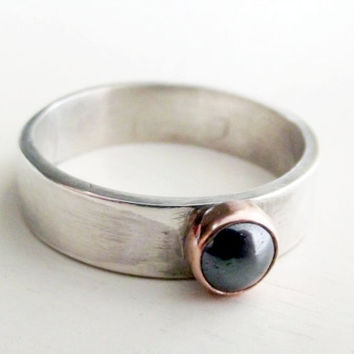 Sterling Silver Copper and Hematite Mixed Metal Wide Men or Womens Gemstone Gray Minimalist Ring Band