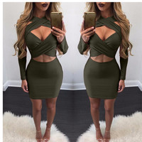 Fashion Female Open Chest Solid Color Hollow Crisscross Irregular Tight Mini Dress
