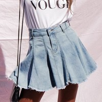 A line pleated short jeans skirts womens High waist tassel mini denim skirt female Casual blue fringe skirt