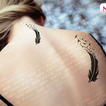 Feather birds temporary tattoos for men women arm leg shoulder Waterproof tatoo