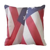 """American Flags 16"""" Square Throw Pillow"""