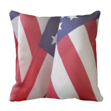 "American Flags 16"" Square Throw Pillow"