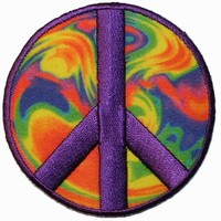 Psychedelic Hippie Peace Sign Iron On Applique Patch