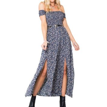 Vintage Off Shoulder Print Dress