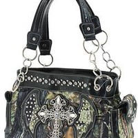 Rhinestone Cross Angel Wings Camouflage Black Satchel Bag Camo Purse (Black Satchel Purse)