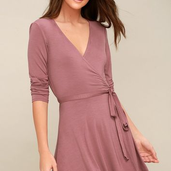 Twirl-Worthy Mauve Wrap Dress