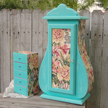 Shabby Chic Jewelry Box, Armoire, Tiffany Blue, Decoupage, Large Jewelry Box, Upcycled, Aqua