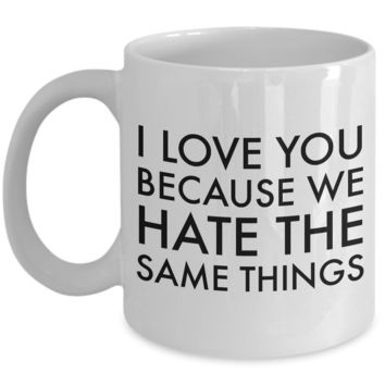 Boyfriend Anniversary Gifts - Gifts for Your Girlfriend - Wife Anniversary Gift - Husband Anniversary Gifts -I Love You Because We Hate the Same Things Cute Coffee Mug