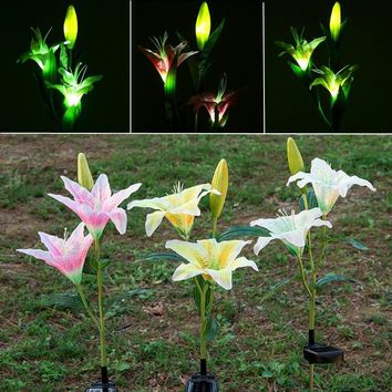 Mising Waterproof Solar Power Flower Light Sensor LED Solar Light Outdoor LED Garden Light Stake Landscape Yard Lawn Lamp