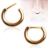 Gold Ring 16g 14g Septum Ring Smooth Basic Septum Clicker (14g)