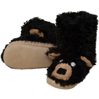 Black Bear Youth Fuzzy Fleece Slippers