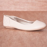 Qupid Soft Stride Faux Leather Quilted Heel Ballet Flats Savanah-217 - Nude