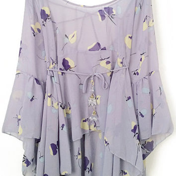 Purple Bell Sleeve Floral Print Chiffon Top