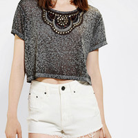 Urban Outfitters - Truly Madly Deeply Embellished Cropped Boyfriend Tee