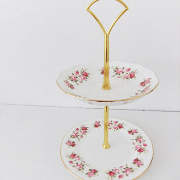 Two tier china cake stand / truffle stand / jewellery stand