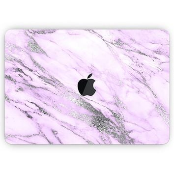 "Purple Marble & Digital Silver Foil V10- Skin Decal Wrap Kit Compatible with the Apple MacBook Pro, Pro with Touch Bar or Air (11"", 12"", 13"", 15"" & 16"" - All Versions Available)"