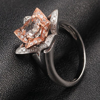 Two Tone Flower Diamond Morganite Engagement Ring in 14k Rose Gold White Gold - 7mm Round VS MORGANITE Ring Diamond Prongs Anniversary Ring