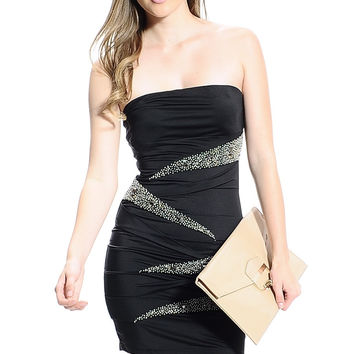Stretchy strapless black dress with beading