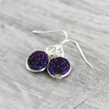 Royal Blue Earrings, Druzy Gemstone Earrings, Blue Druzy Earrings, Sterling Silver Earrings, Small Dangle Earrings, Wire Wrap Earrings
