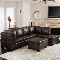 Best Selling Home Evan 3 Piece Leather Sectional Sofa | Hayneedle