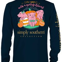 Simply Southern Preppy Collection Grateful Heart Long Sleeve Tee in Navy LS-PRPGIVE-NAVY