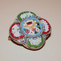 Vintage Micro Mosaic very pretty intricate detailed oval shape floral centre brooch