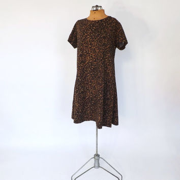 Vintage 1990s Leopard Print Dress Short Day Dress 90s Babydoll Hipster Mini Flirty Punk Rocker Grunge Casual Cotton Day Dress Size large