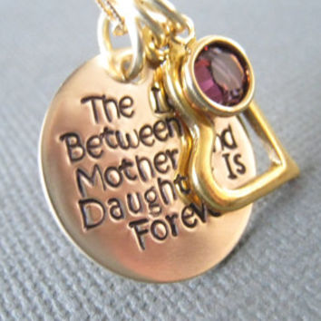 Hand Stamped Mommy Jewelry - Personalized Gold Tone Necklace - Custom Engraved Jewelry - The Love Between a Mother and Daughter is Forever