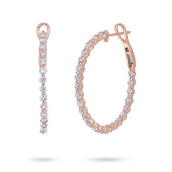3.20ct 14k Rose Gold Diamond Hoop Earring