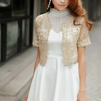 Women Basic Coat Embroidery Ribbon Bead Embellished Short Sleeve Cardigan See Through Sheer Lace Mesh Bolero Top Jacket