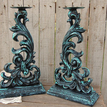 Candle Holders, Shabby Chic, Tiffany Blue, Ornate, Hand Painted, Pillar, Aqua, Metal, Tall