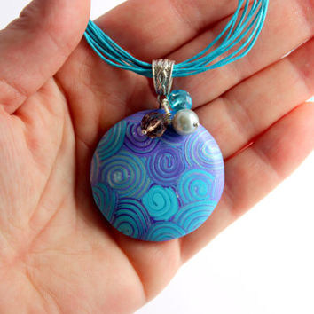 Turquoise and purple boho necklace,colorful bohemian necklace, unique polymer clay jewelry