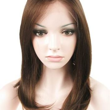 Chestnut Brown Mixed Straight Medium Synthetic Lace Front Wig