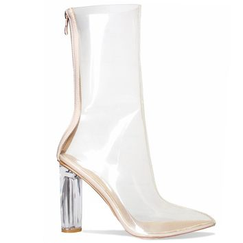 ARIAS PERSPEX CLEAR HEEL ANKLE BOOTS
