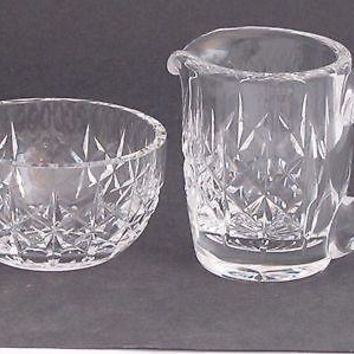 Signed Waterford Hand Cut glass SUGAR  & CREAMER Crystal