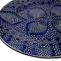 Lace Blue Platter, Kitchen Platter, Large Serving Plate, Oval Platter, Blue Kitchen Decor, Serving Dish, Party Tray, Blue Pottery Platter