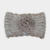 Women's Taupe Soft Knit Flower Ear Warmer Headband Head Wrap  Winter Accessories Headbands