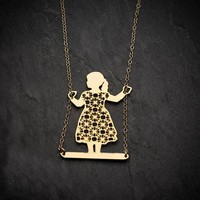 Geometric Girl Necklace Gold Alice In Wonderland Pendant Necklace Girl on swing Jewelry Party Accessories Drop Shipping YLQ0868