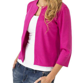 Solid Rose Three Quarter Sleeve Jacket