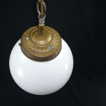 Vintage Swag Lamp Hanging Light Round White Globe Long Chain Works
