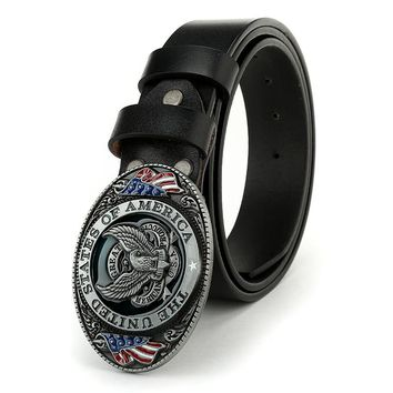 Punk Designers Luxury Cowhide Brand Genuine Leather Pin Buckle Belts for Mens The United State of American Flag Belt Buckle